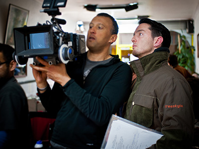 Keir Burrows on set with cinematographer Gerry Vasbenter filming Grace